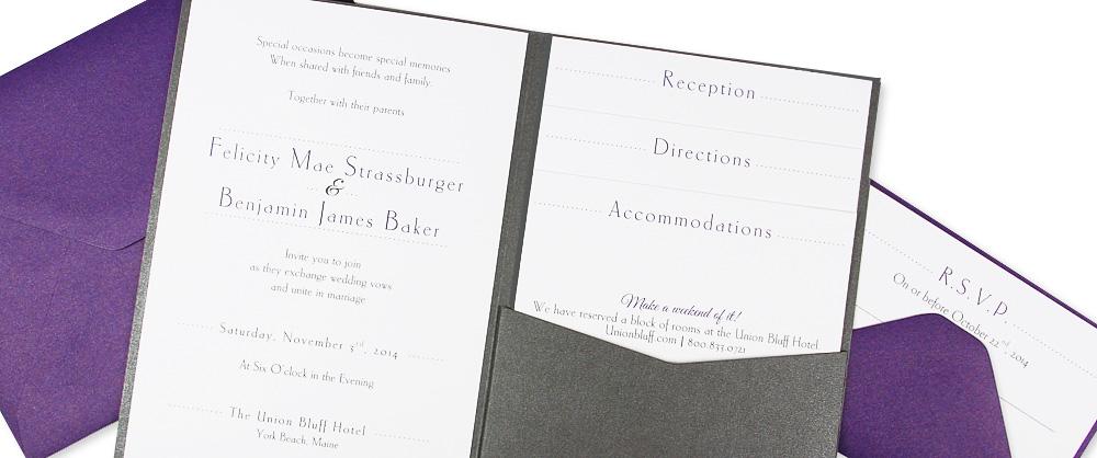 metallic charcoal and purple pocket invitation