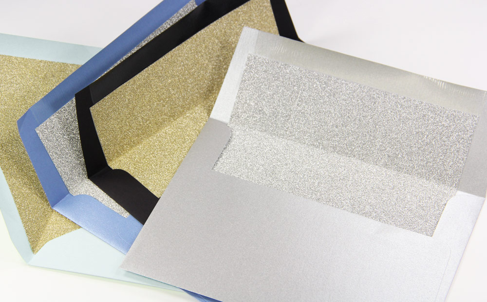 Glitter Envelope Liners with MirriSPAKLE glitter paper