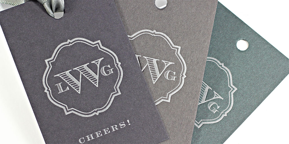 Letterpressed monogram gift tags on Gmund Matt paper by Missive