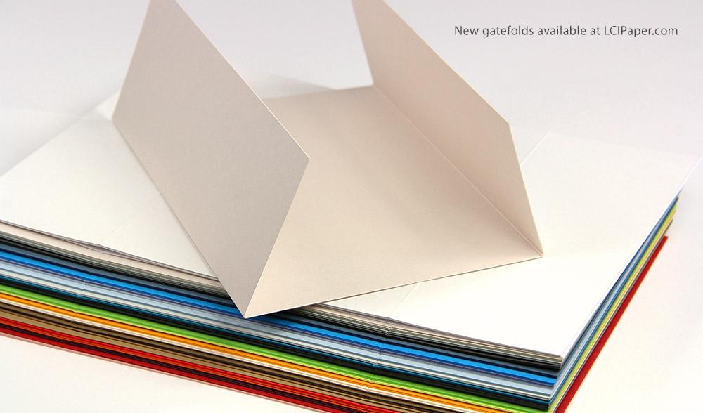 Gate fold invitation wraps in 3 dozen new colors now at LCIPaper.com