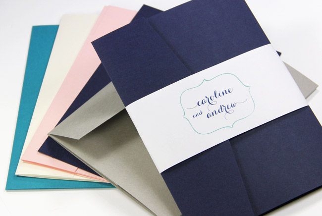 Colorful matte finish invitation pockets with matching envelopes to make your own invitations - LCIPaper.com