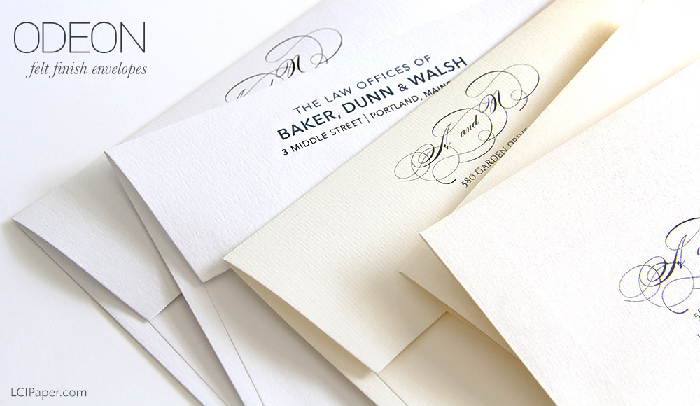 Odeon felt finish invitation envelopes from LCIPaper.com