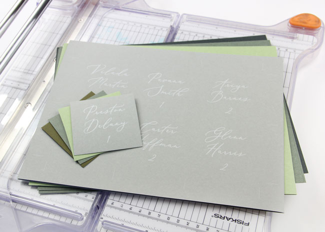 Cut 3 x 3 flat place cards from 8 1/2 x 11 paper