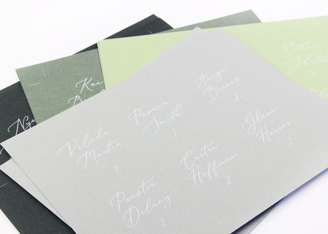Use template to customize and print flat place cards on 8 1/2 x 11 card stock
