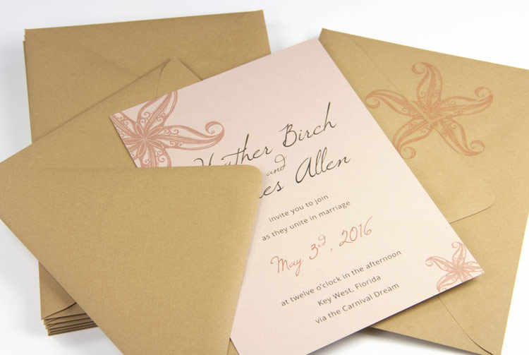 Beach themed wedding invitation made with Curious Metallics Nude card stock and euro-flap kraft envelopes