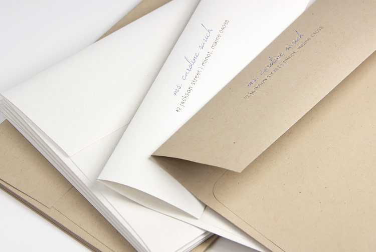 Neenah environment kraft envelopes in Moonrock (white kraft) and Desert Storm. Order blank or printed from LCIPaper.com