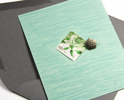 Hand made Japanese linen card with complementary envelope