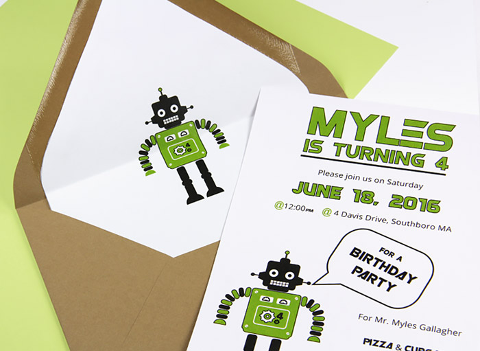 Child's robot birthday part invite with custom lined euro flap envelope. Liner template available on LCIPaper.com