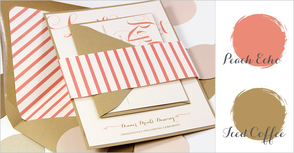 Peach Echo and Iced Coffee invitation with matching stripe envelope liner and band - Spring 2016 top wedding colors