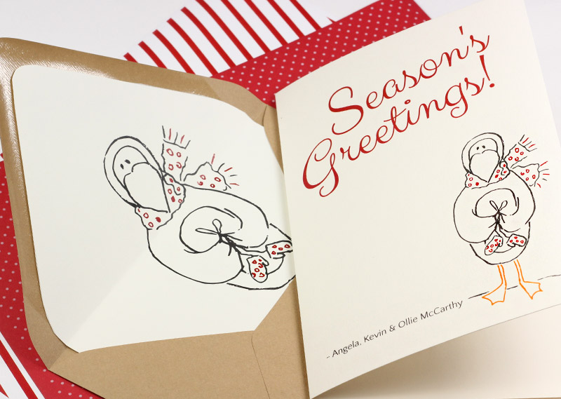 Printable holiday penguin card and liner to print on your choice of papers