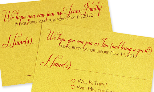 personalized reply cards