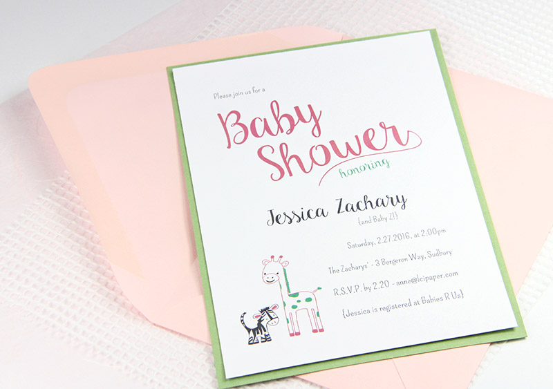 Pink and green baby shower invite with baby jungle animal theme in Craft Ideas Mag