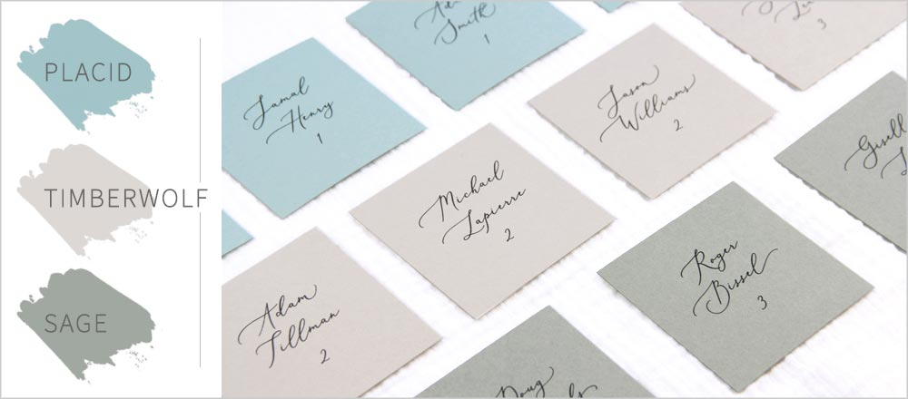 Sage, dusty blue and gray square flat place cards. Download template from LCI Paper & print at home.