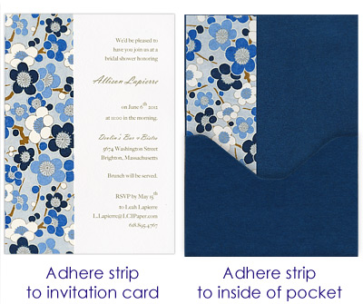 glue strips to inside of pocket card and to invitation card