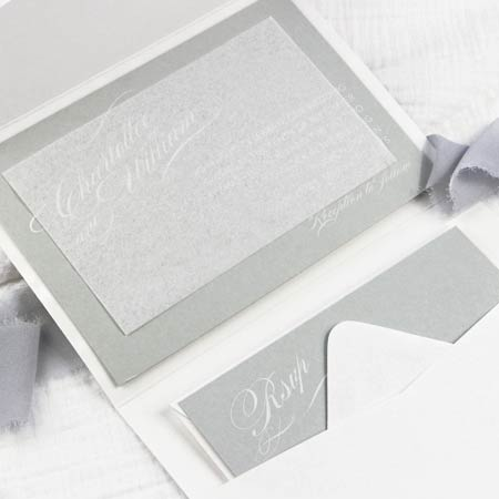 Pocket wedding invitation with tissue insert. Tissue used in invitations to protect from smudging, scratching and damage during mailing.