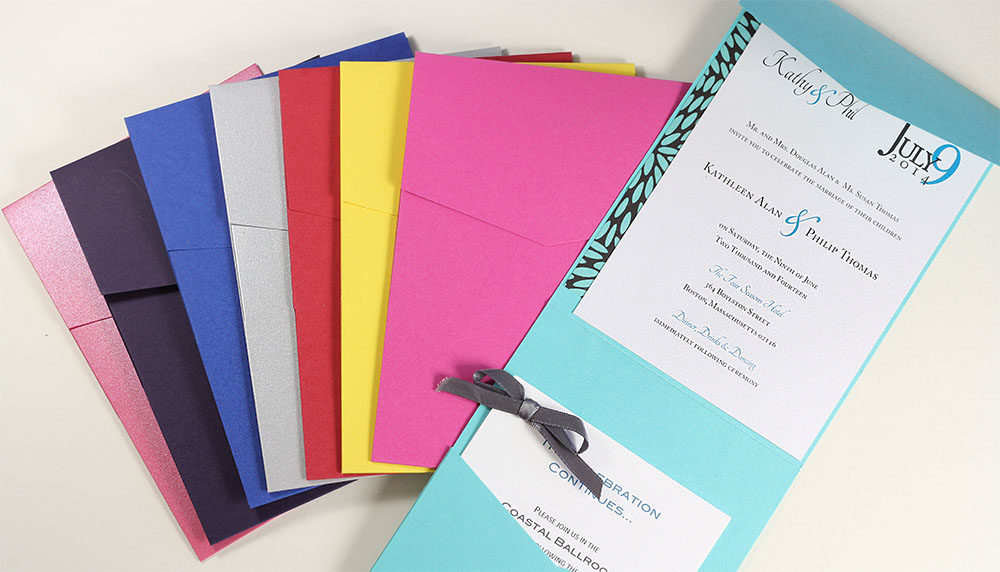 Portrait Pockets feature a lengthwise pocketfold perfect for a card or invitation ensemble. Call or shop online at LCIPaper.com