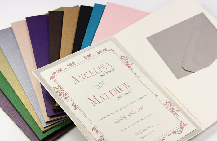 Bifold invitation pockets in a variety of colors and finishes
