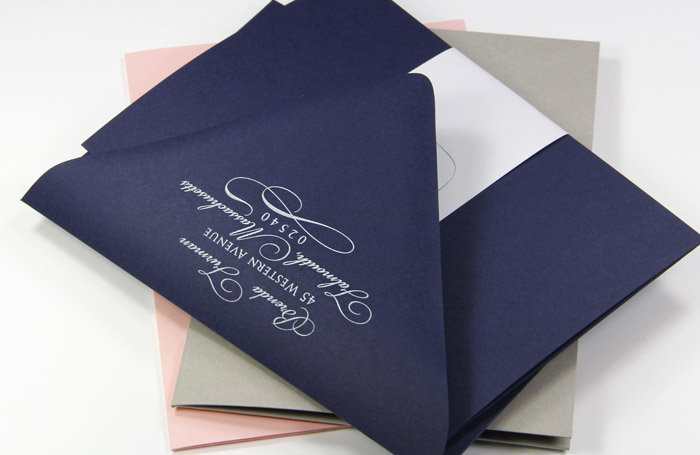Matte finish navy blue pocket invitation and envelopes
