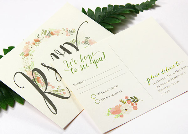 A2 wedding post card rsvp card