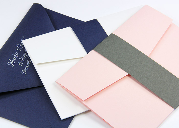Pre-cut invitation bands made with Gmund Colors Matt colorful matte finish paper. Shown with matching Gmund Color envelope