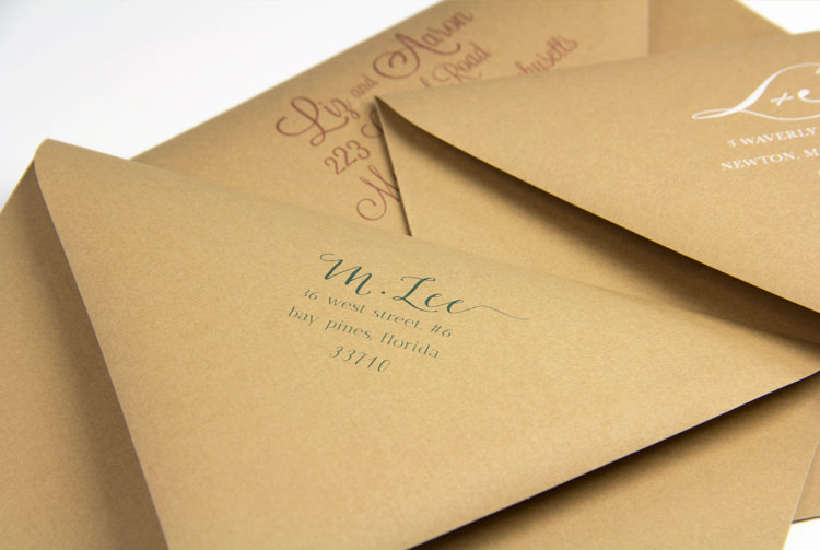 Euro-flap kraft envelopes with return address printing