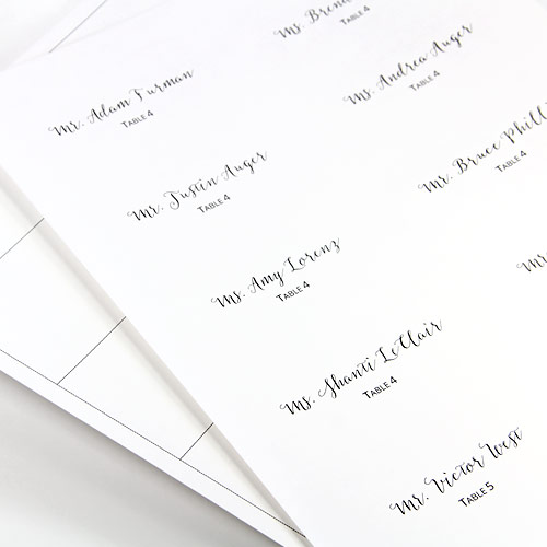 Print top layer and cutting guidelines for layered place cards on 8 1/2 x 11 paper. Free print templates in post