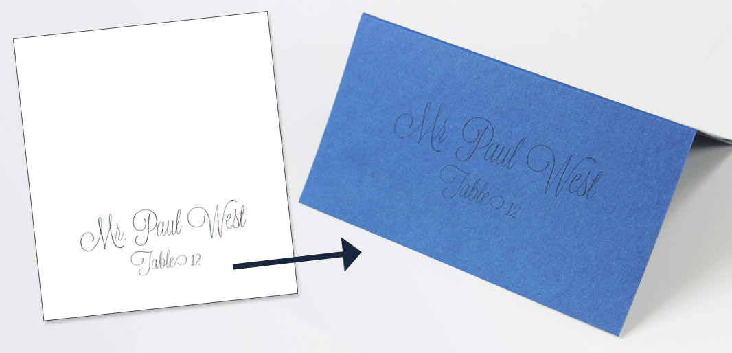 Print place cards with light text, then trace with a colorful pen for a calligraphy look