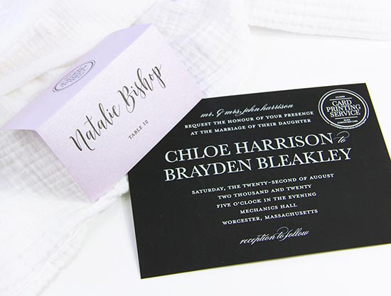 Printed invitation and place card samples from LCI Paper. You design, they print. White ink print services available.