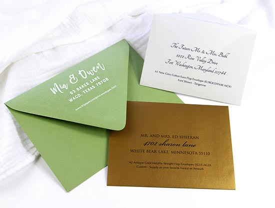 Printed envelope samples in several sizes, colors from LCI Paper. Order envelopes printed & addressed in white ink, color ink, or black.