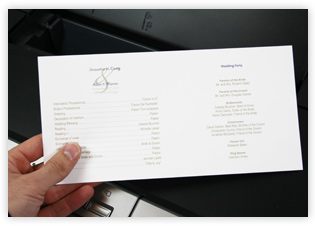 Printed Program Paper Wedding