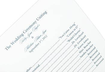 Printed 6 1/4 square wedding program insert page close up