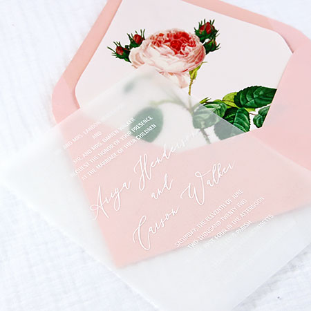Simple vellum wedding invitation idea - Thick, translucent vellum cardstock printed in white by LCI Paper.