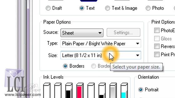 print driver select custom document size