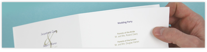 Printed Booklet Wedding Program Paper