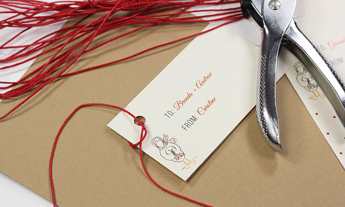 Punch hole and tie gift tag on with twine. Easy home made gift tags.