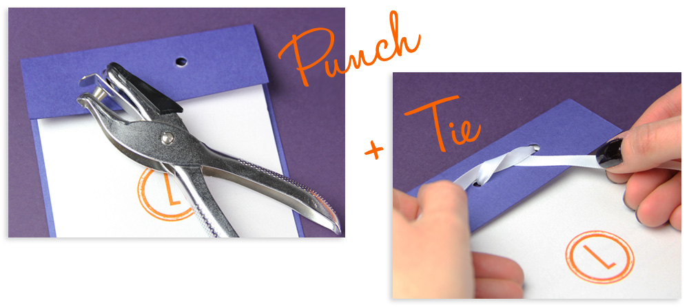 modern wedding program idea-punch holes in layered program and tie with ribbon or twine