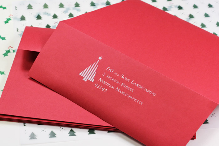 Bulk pack red envelopes for corporate holiday cards printed in white by LCIPaper.com