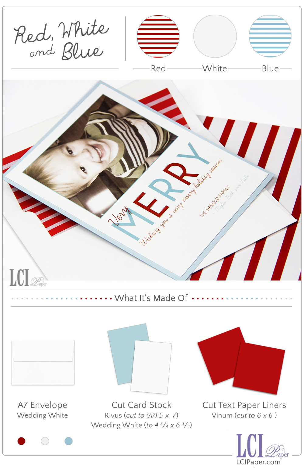 Red, white and blue layered photo holiday card by LCI Paper