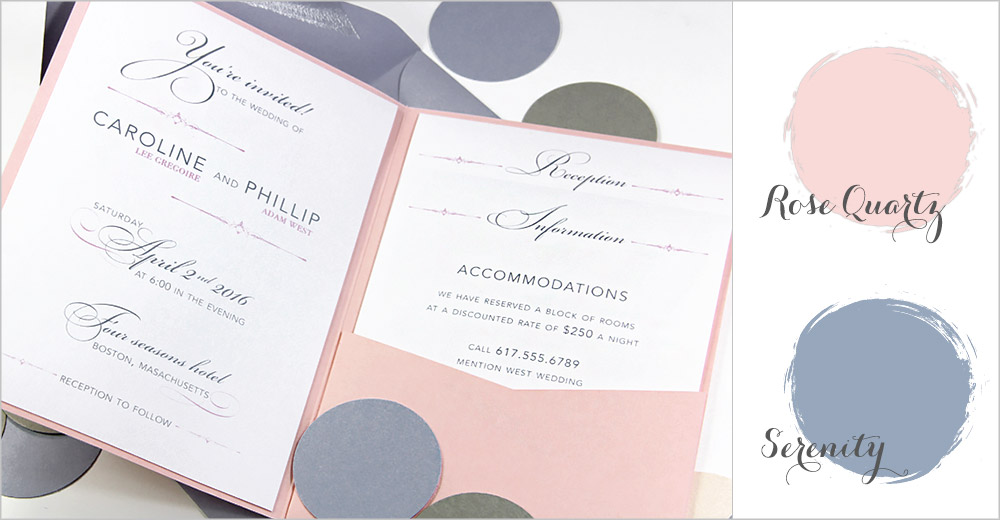 Rose Quartz and Serenity pocket invitation - Spring 2016 wedding colors