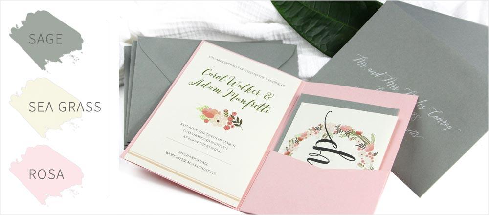 Sage green & pink pocket invitation. Order paper, envelopes, pockets, blank or printed from LCI Paper