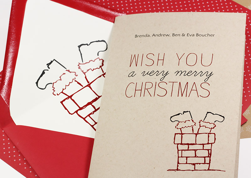 Printable upside down Santa card and liner to print on your choice of papers