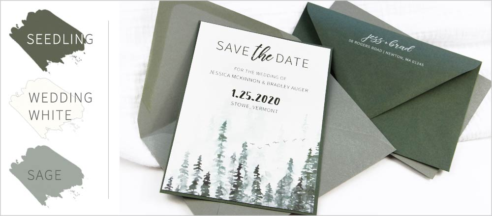 Sage green and white save the date card printed by LCI Paper
