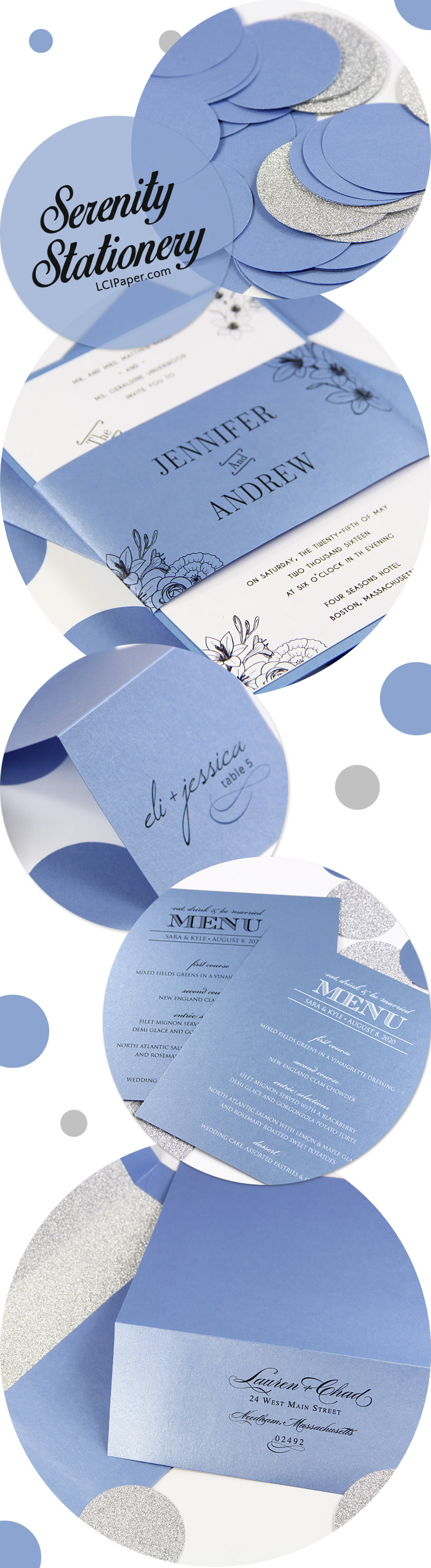 Serenity spring wedding stationery collage. Stardream Vista a close match to Serenity spring 2016 Pantone color.
