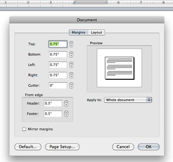 how to set margins in Microsoft word