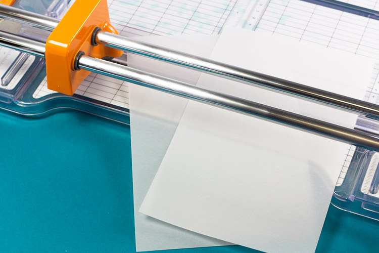 Translucent vellum paper cut with sharp rotary blade