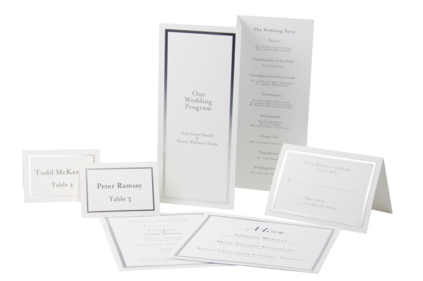 Array of silver foil border cards printed as an invitation suite