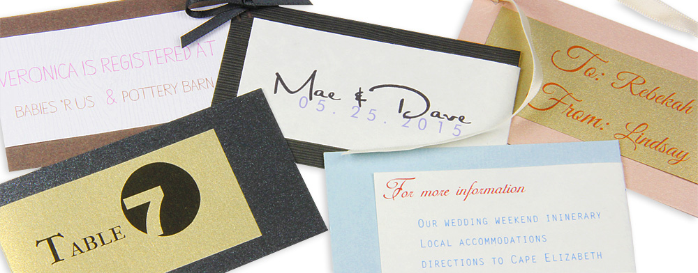 small layered cards made into tags and additional invitation insert cards