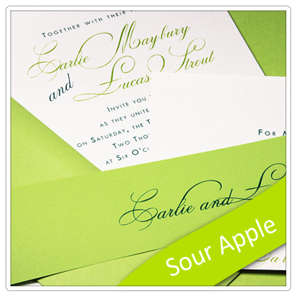 invitation made with pop tone sour apple paper