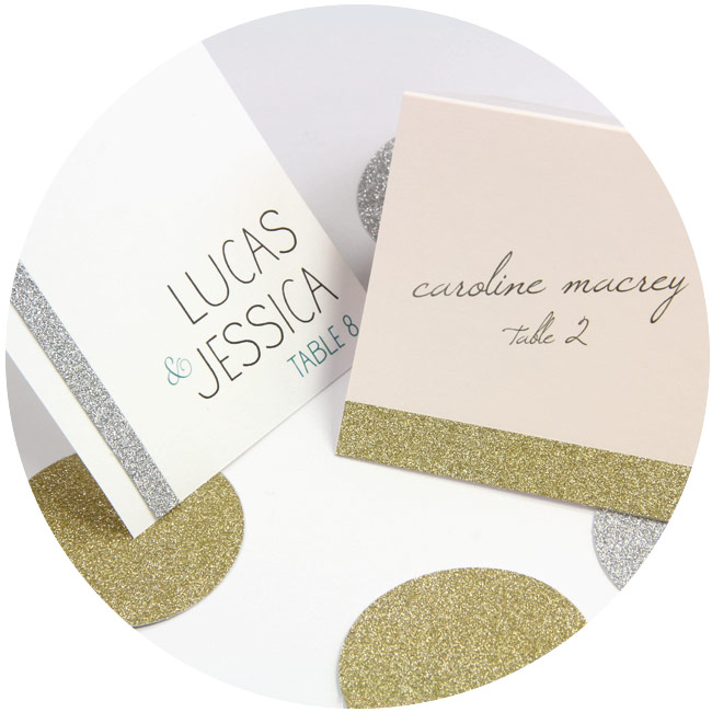 Handmade wedding place cards: Square place cards printed by LCIPaper.com decorated with MirriSPARKLE glitter paper strips