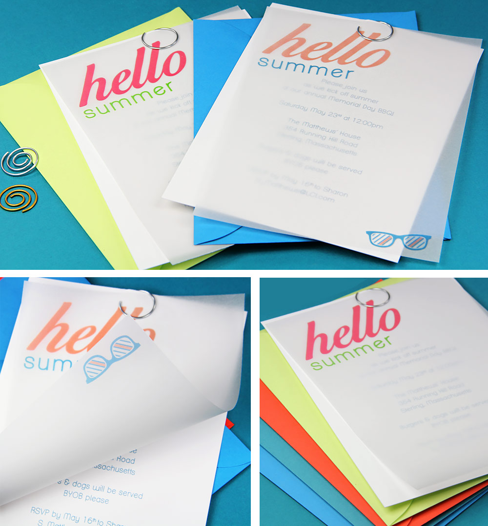 Collage of simple DIY vellum summer party invites. Free templates & instructions in post